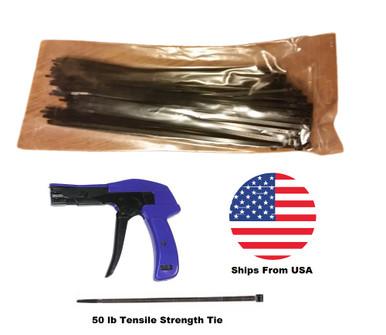 """Standard Cable Tie Tool Gun with 100 Zip Ties 11"""""""