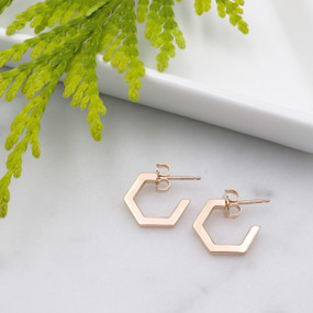 June Hexagon Hoop Earrings - hesmarieH TREASURE