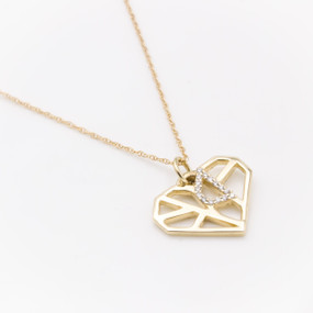 Diamond Heart Pendant Necklace in Yellow Gold - hesmarieH PIECE of my HEART
