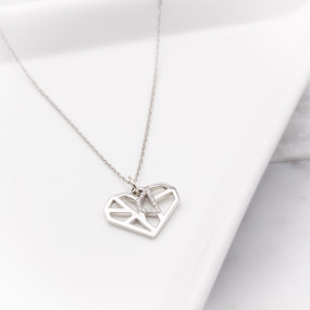 Diamond Heart Pendant Necklace in White Gold - hesmarieH® PIECE of my HEART