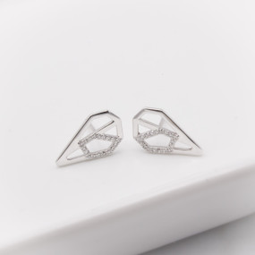 Diamond Heart Ear Climbers in White Gold - hesmarieH® PIECE of my HEART