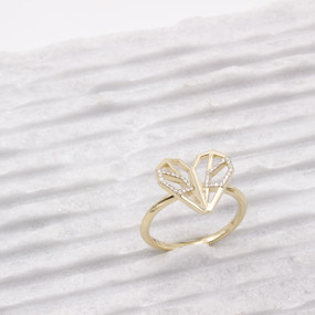 Diamond Heart Butterfly Ring in Yellow Gold - hesmarieH PIECE of my HEART