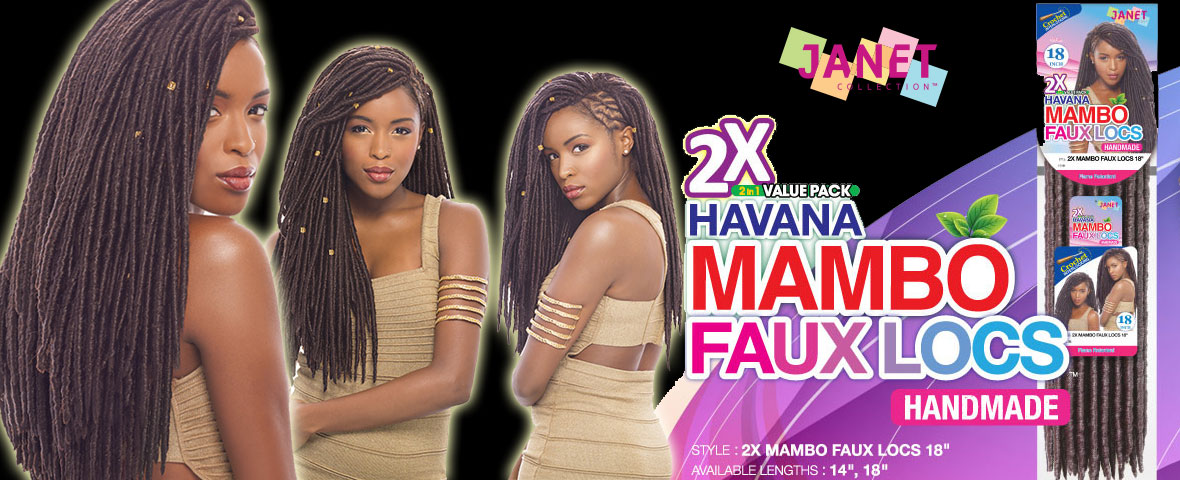 Janet Collection 2X Havana Mambo Faux Locs - 18""