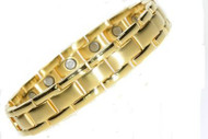 Zarifeh Mens Magnetic Brushed Centre Link Gold Bracelet Large (20cm)
