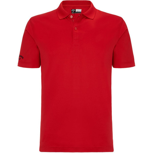 Callaway Golf Mens Classic Chev Solid Polo Shirt Tango Red