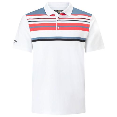 Callaway Golf Mens Engineered Roadmap Striped Polo Shirt White