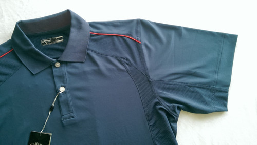 Callaway Mens Mesh Piped Tour Golf Polo Insignia Blue Large