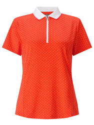 Callaway Womens Polka Dot Golf Polo Nasturtium Small