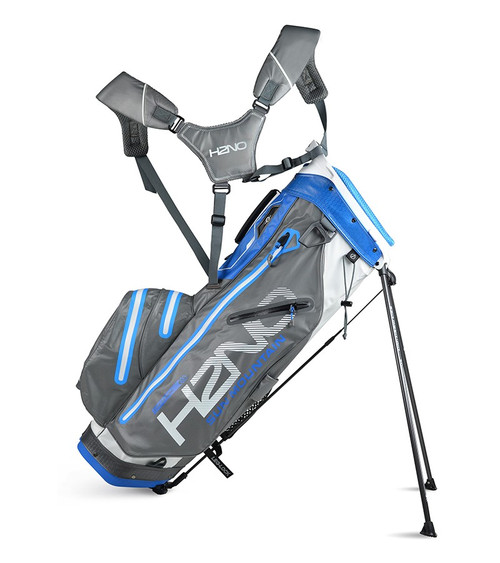 Sun Mountain H2N0 14-WAY Waterproof Golf Bag White/Gunmetal/Blue (18H2NOS-WGC)