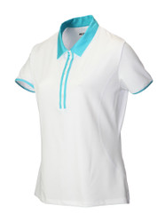 JRB Ladies White Trim Short Sleeved Golf Shirt New for 2018