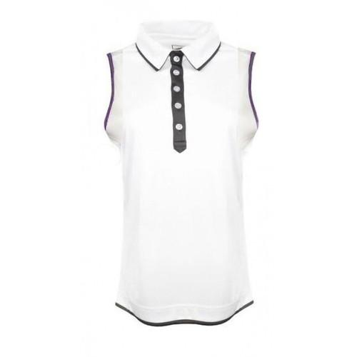 JRB Ladies Sleeveless Golf Shirt White/Gun Metal Small