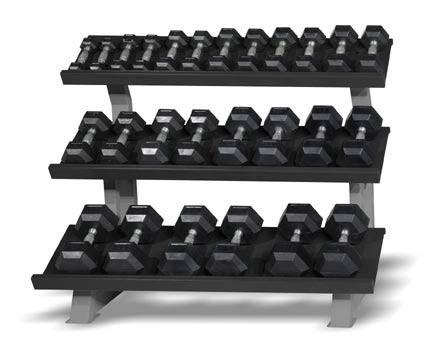"""CAP 3-Tier """"Stadium"""" Rack, 52 in displaying dumbbells"""