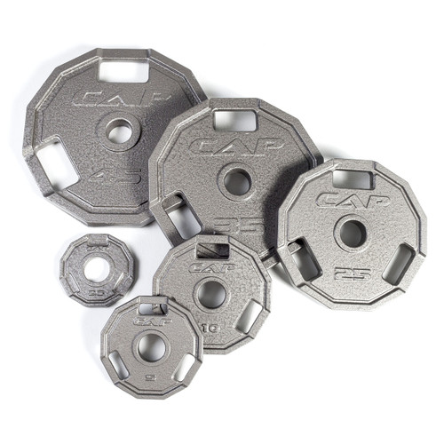 Multiple weights of CAP 12-Sided Olympic Cast Iron Grip Plate