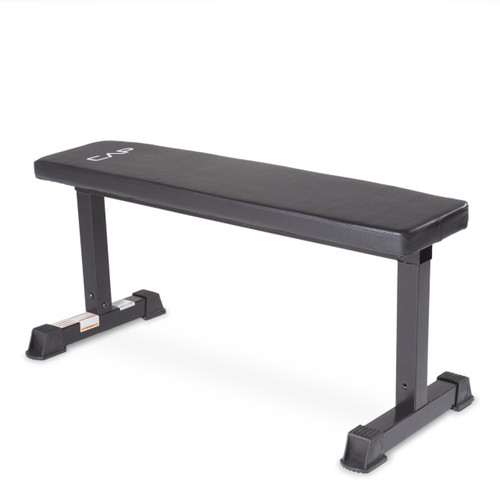 CAP Strength Flat Bench, Black, angled view