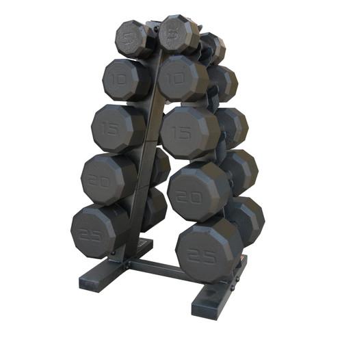CAP 150 lb Dumbbell Set with Rack, black