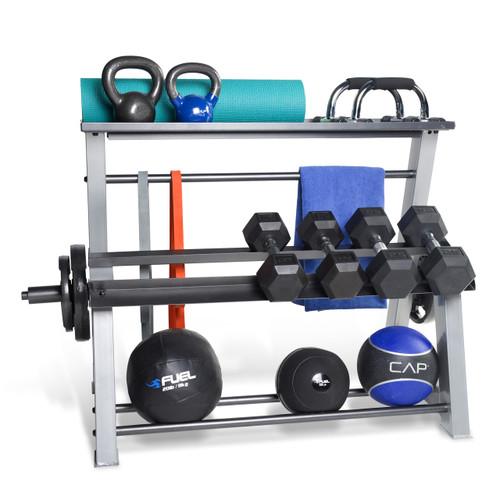 CAP Fitness Accessories Metal Storage Rack Displaying Kettlebells, Foam  Roller, Muscle Bands, Towel