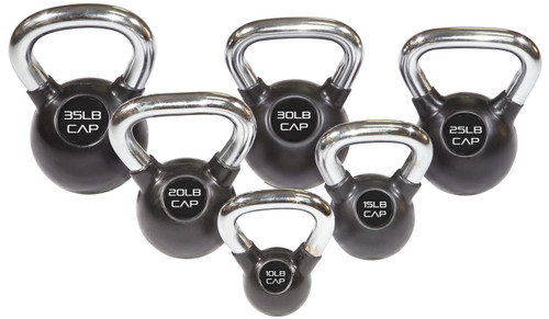 Black Rubber Coated Kettlebell with Chrome Handle