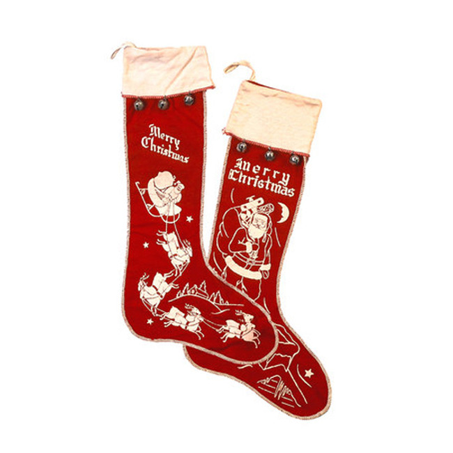 Primitives by Kathy Vintage Inspired Large Felt Stockings set of 2 2269