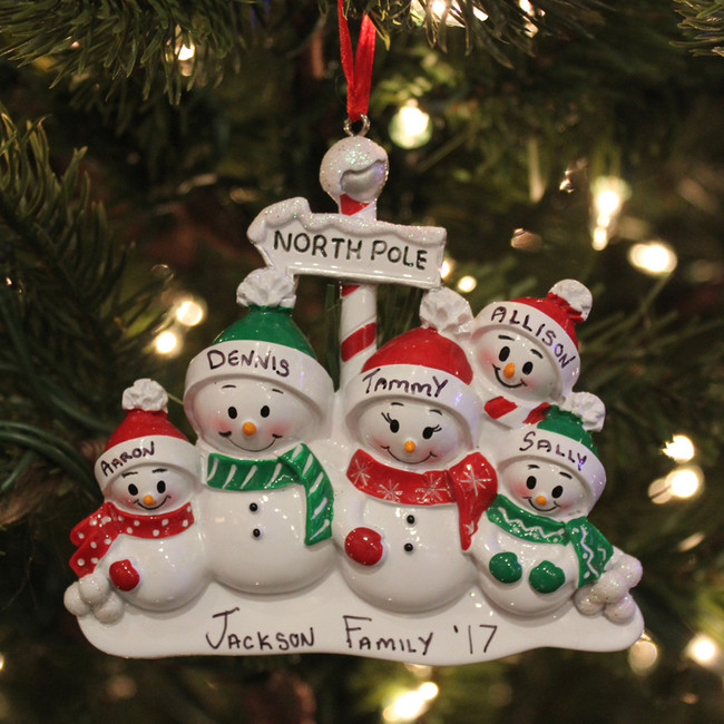 Family Personalized Christmas Ornament with 5 Snowmen