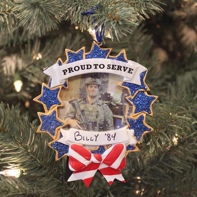 Armed Forces Military Picture Frame Personalized Christmas Ornament