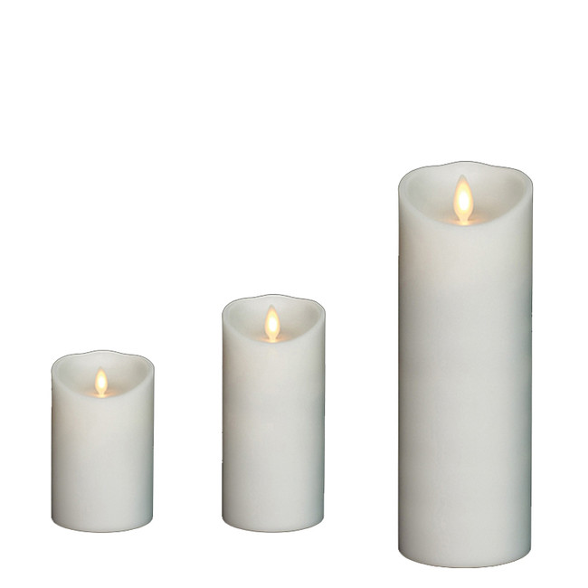 "Liown 3"" x 4"", 6"", or 8"" Moving Flame White-Unscented Pillar Battery Candle"