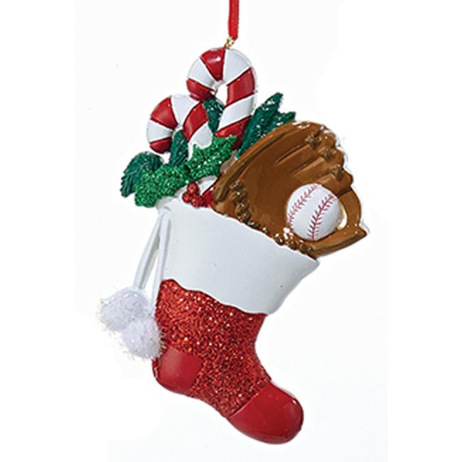 "Kurt Adler 4.5"" Baseball Stocking Personalized Christmas Ornament W8297B"