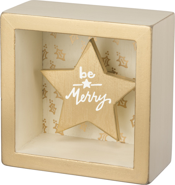 Primitives By Kathy Wooden Be Merry Christmas Box Sign 32441