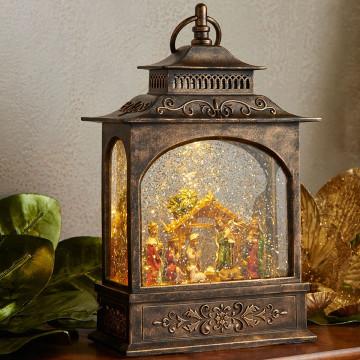 Raz 11 Quot Led Lighted Nativity Scene In Bronze Water Globe