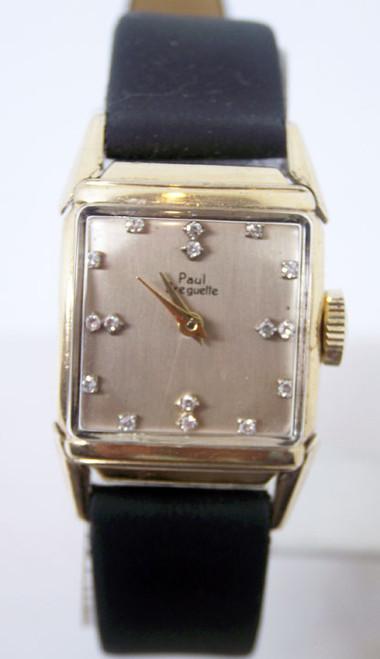 Vintage 10k GF PAUL BREGUETTE Winding Watch w/Diamond Markres c.1940s* SERVICED