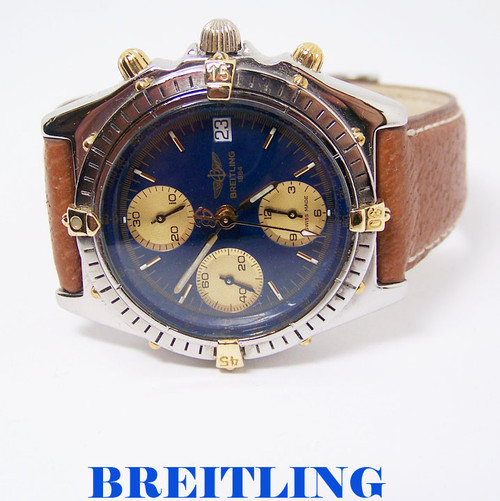 S/Steel & 18k BREITLING CHRONOMAT Chronograph Automatic Watch A13047* EXLNT