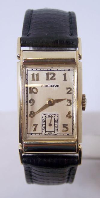 14k Vintage Gold HAMILTON Winding Watch 1940s Cal 982 EXLNT SERVICED* RARE 43 mm