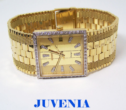 Mens 18K Gold JUVENIA MACHO AUTOMATIC Watch 8902 w/Diamond Bezel & Hour Markers