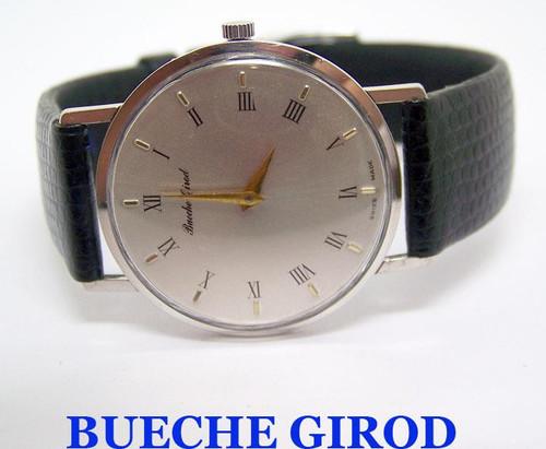Slim 18k White BUECHE GIROD Winding Watch c.1970s* EXLNT* SERVICED* RARE