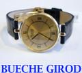 Solid 18k BUECHE GIROD Unisex Watch w/Crocodile* in EXLNT Condition