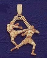 "18k goldplated Silver Muay Thai / Thai Boxing Pendant ""Thai Knee Strike"""