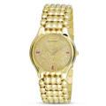 NOS 18k Yellow Gold JUVENIA BIARRITZ Men's watch Ref 11346 with Diamond Dial & Rubies