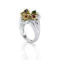 Sterling Silver & 18k Ladies Hearts Ring Sapphire, Topaz, Ruby, Cetrine, Emerald