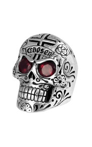 King Baby Large Skull Ring w/Chosen Cross &  Garnet Eyes  K20-5304