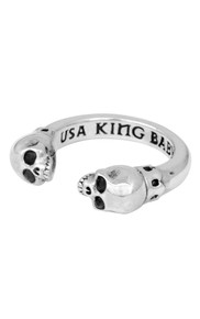King Baby Open Ring with Skulls Silver K20-5966