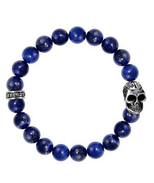 King Baby 10mm Lapis Bead Bracelet w/Day of the Dead Skull  K40-5287