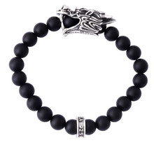 King Baby Dragon's Head Onyx Bead Bracelet  K40-8175