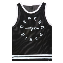 Defend Paris Men's AK Logo Mesh Striped Tank Black SS1535