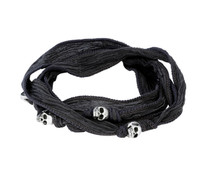 King Baby Studio Multi-Wrap Charcoal Silk Bracelet with Skulls K42-5557