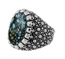 King Baby Sting Ray Texture Ring w/Top Hat Spotted Turquoise Cabochon Skulls