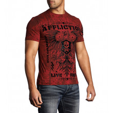 Affliction Men's Warmachine Flocked Eagle Sheild T-Shirt Dirty Red A12224