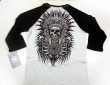 Affliction Men's Crow Fall 3/4 Raglan T-Shirt Vintage White/Black A11981