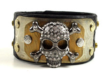 Brunner's Metalwear Layered Black Leather Blingy Skull Bracelet