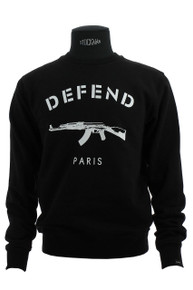 Defend Paris Unisex Men's or Women's AK Logo Sweatshirt Black  *Authentic*