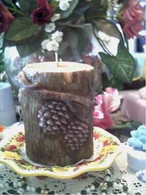 Silicone  Raised Tree Log W/Pinecone Candle Mold LARGE