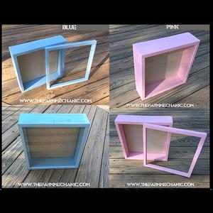 "Baby Shadow Box - Artisan Rustic -12""W x 12""H x 1""D Blue/Pink"